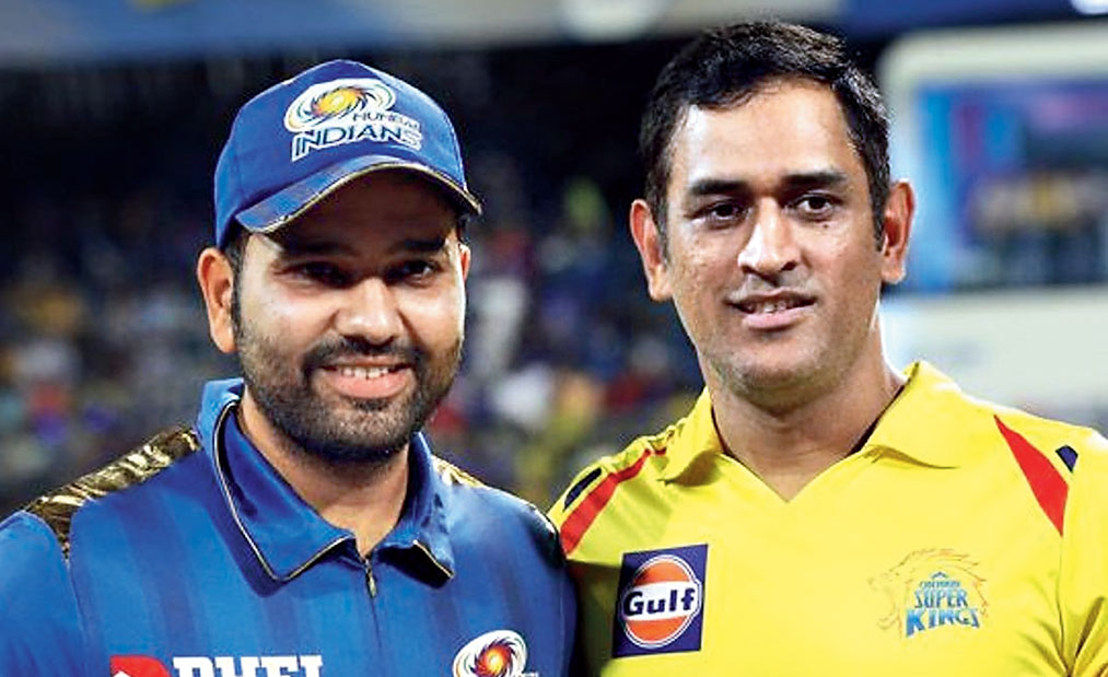 Mumbai Indians captain Rohit Sharma with his CSK counterpart Mahendra Singh Dhoni