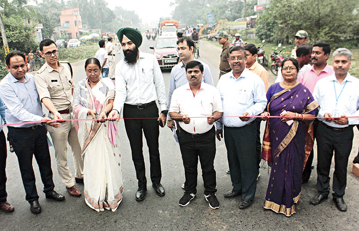 Officials inaugurate the four-laning work of NH12 in Krishnagar on Wednesday