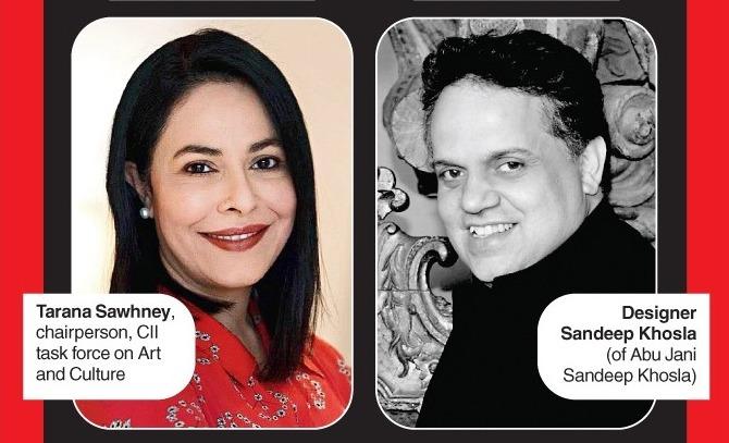 Tarana Sawhney, chairperson, CII task force on Art and Culture and Designer Sandeep Khosla (of Abu Jani Sandeep Khosla)