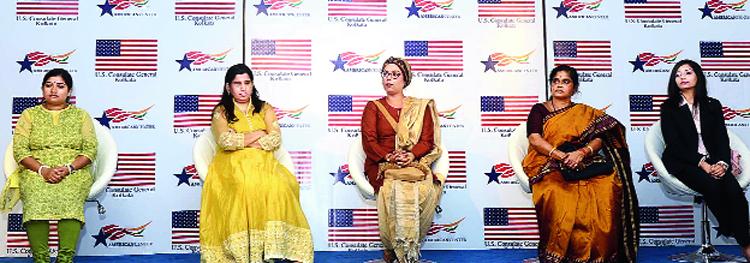 (From left) Soumita Roy, Kanchan Gaba, Mandakranta Sen, China Pal and Tania Sanyal at American Center.