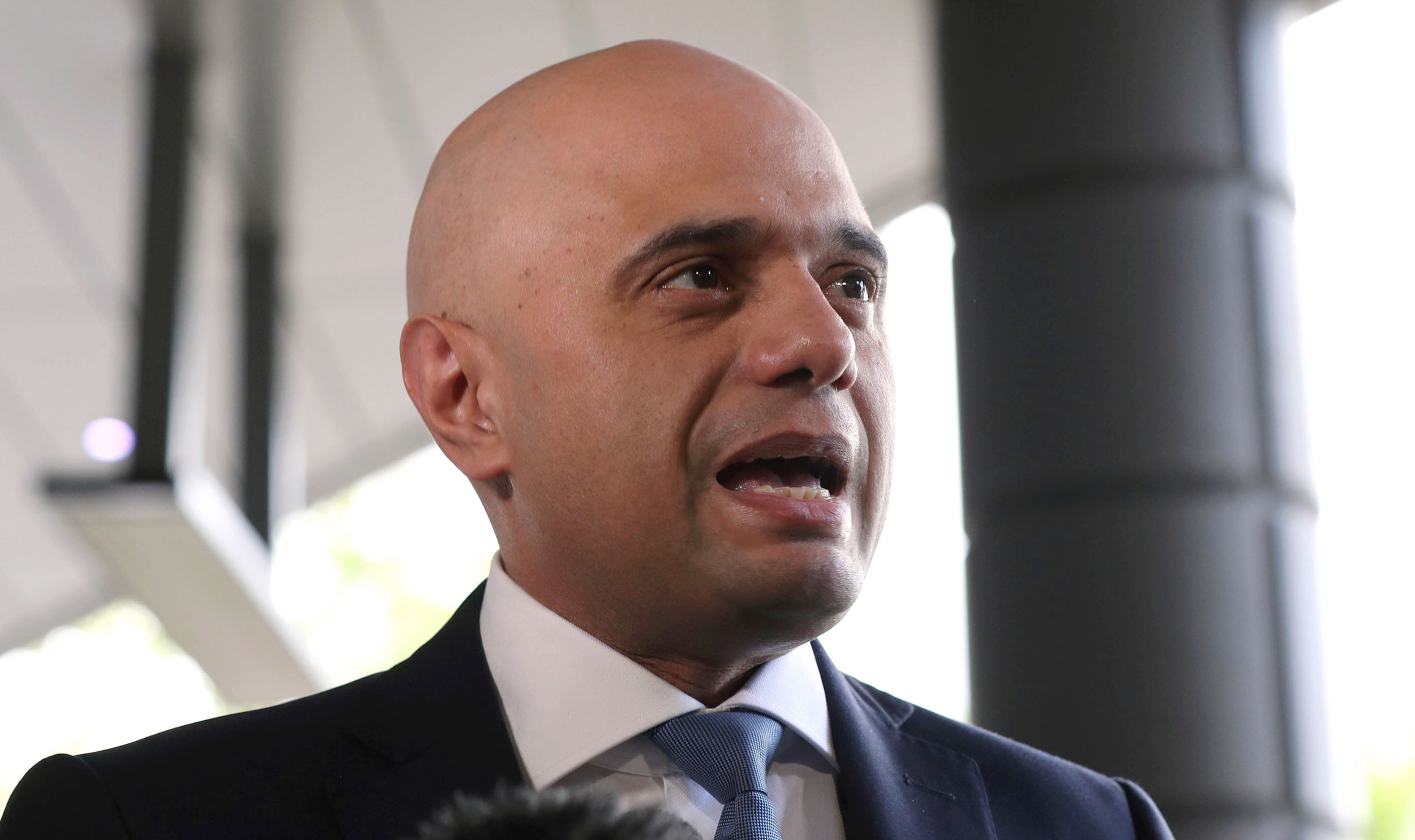 Sajid Javid arrives for the Conservative National Convention meeting in central London on June 15, 2019.