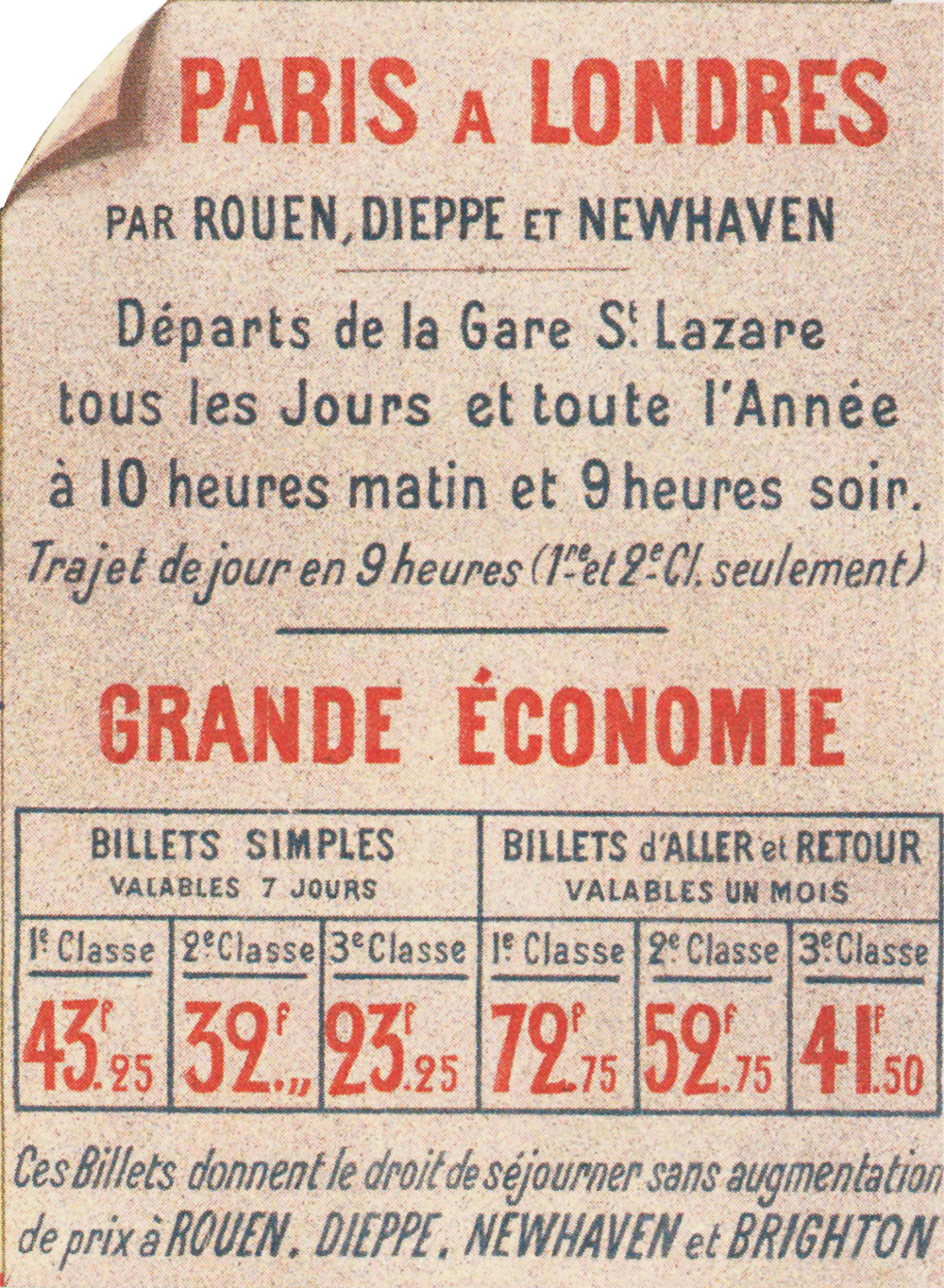 Detail of a poster for the route between Paris and London by train and boat, circa 1900