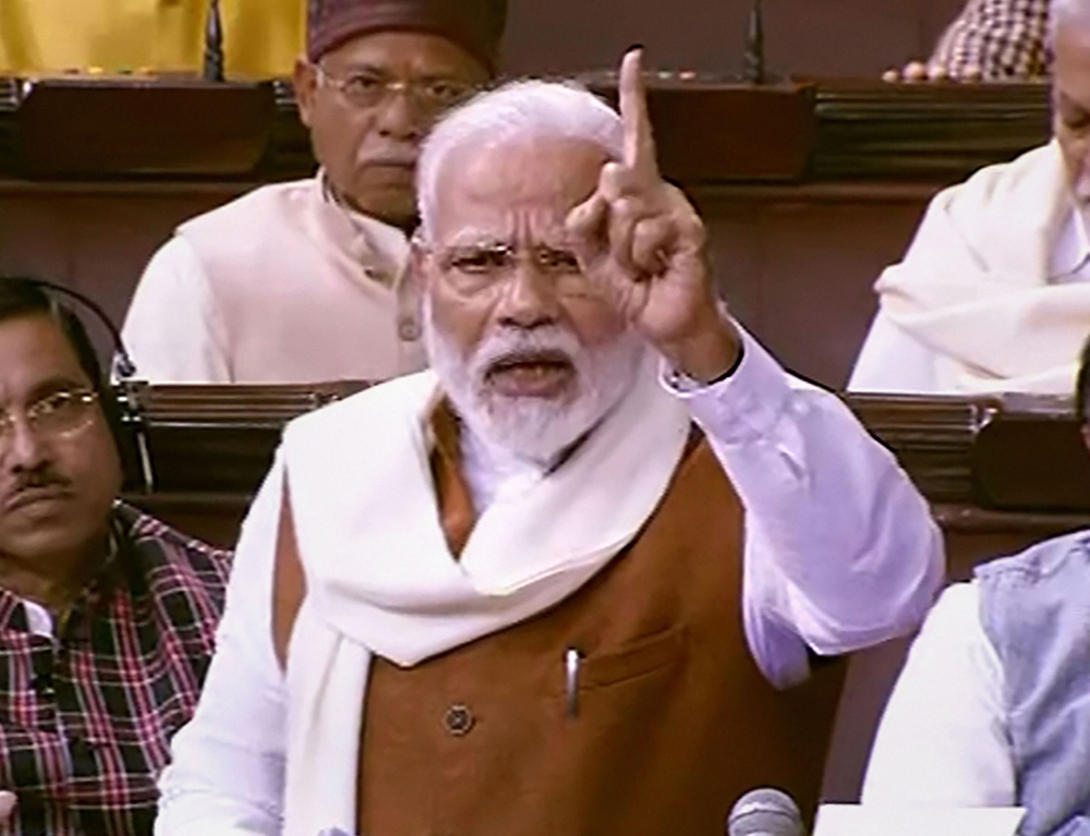 Prime Minister Narendra Modi speaks during the Motion of Thanks on the Presidents Address in the Rajya Sabha, in New Delhi, Thursday, February 6, 2020.