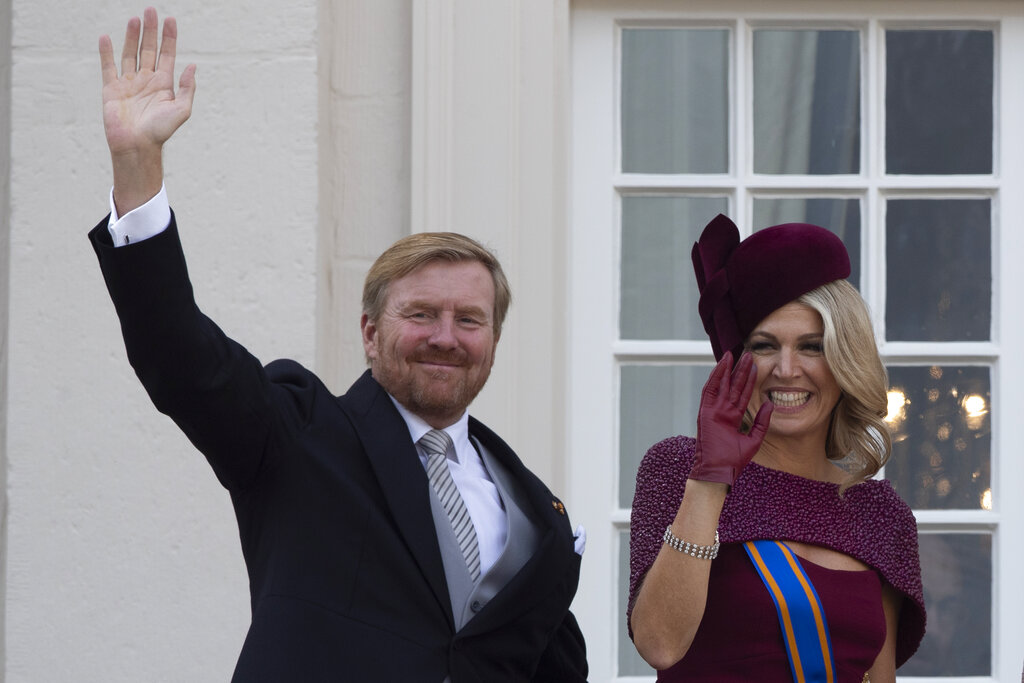 File photo of Dutch King Willem-Alexander and Queen Maxima waving from the balcony of royal palace Noordeinde at The Hague