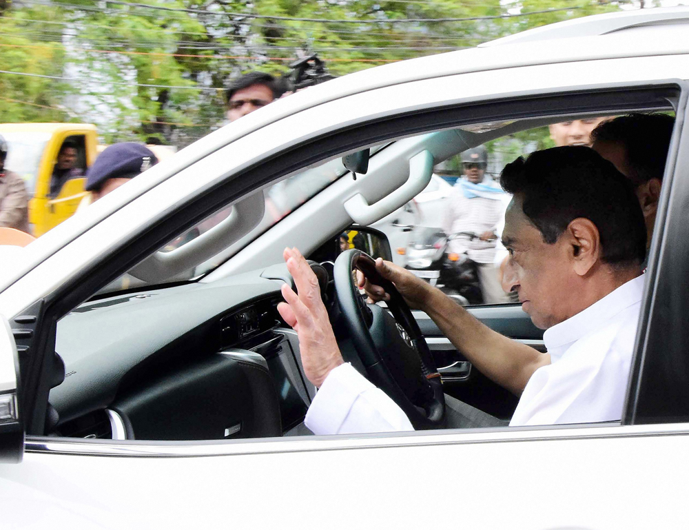 Madhya Pradesh chief minister Kamal Nath leaves for the cabinet meeting, in Bhopal on Sunday, March 15, 2020.