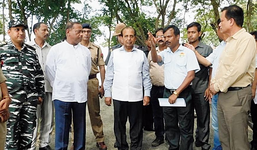 Assam forest minister Parimal Suklabaidya and governor Jagdish Mukhi visit the park on Sunday.