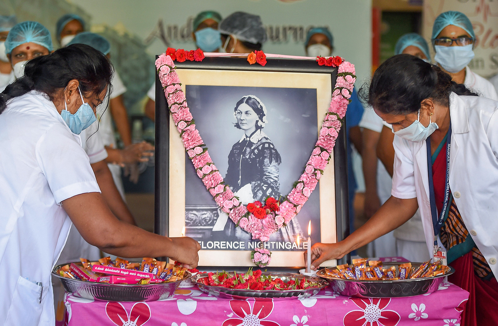 BEYOND CARE: Nurses at a Chennai hospital pay tribute to Florence Nightingale on International Nurses Day