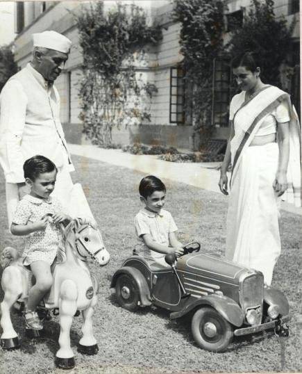 Jawaharlal Nehru with Indira Gandhi and her young sons -- Rajiv and Sanjay Gandhi