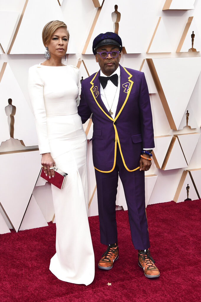 Tonya Lewis Lee, left, and Spike Lee arrive at the Oscars on Sunday, February. 9, 2020, at the Dolby Theatre in Los Angeles