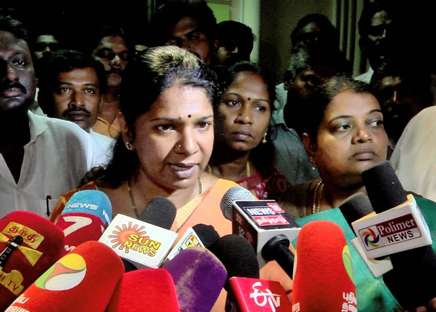 DMK candidate for the Tuticorin Lok Sabha seat, Kanimozhi Karunanidhi, addresses the media after the income tax department raided her residence, in Thoothukudi district, Tuesday, April 16, 2019.