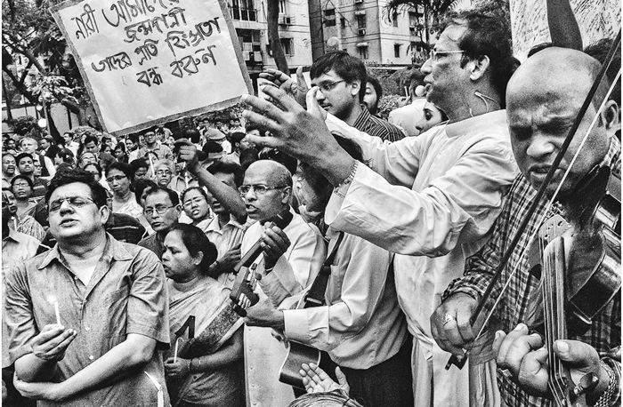 A protest march at Allen Park against the rape of a 60-year-old nun at Ranaghat in Nadia district.