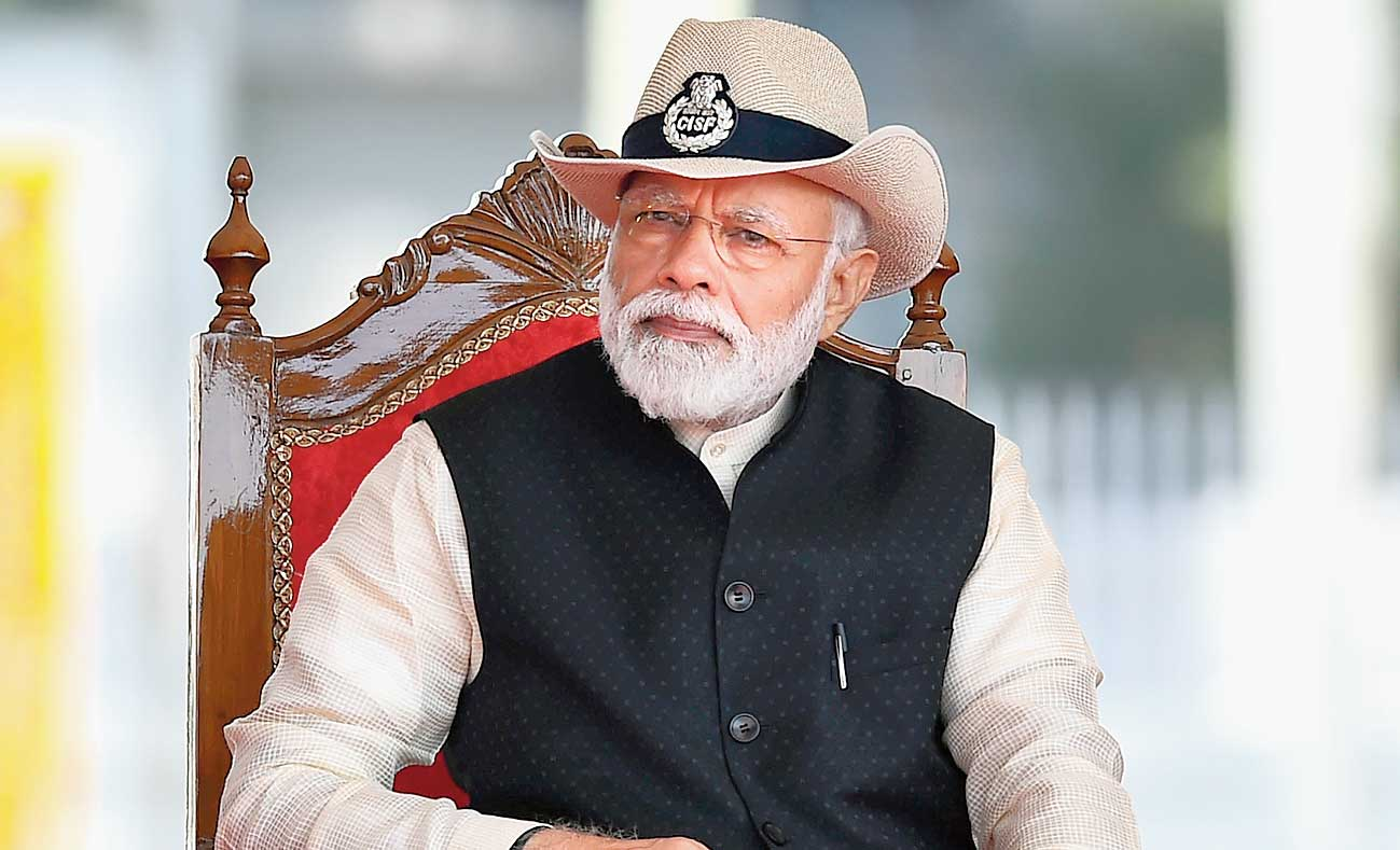Prime Minister Narendra Modi at the CISF Day Parade in Ghaziabad on Sunday.