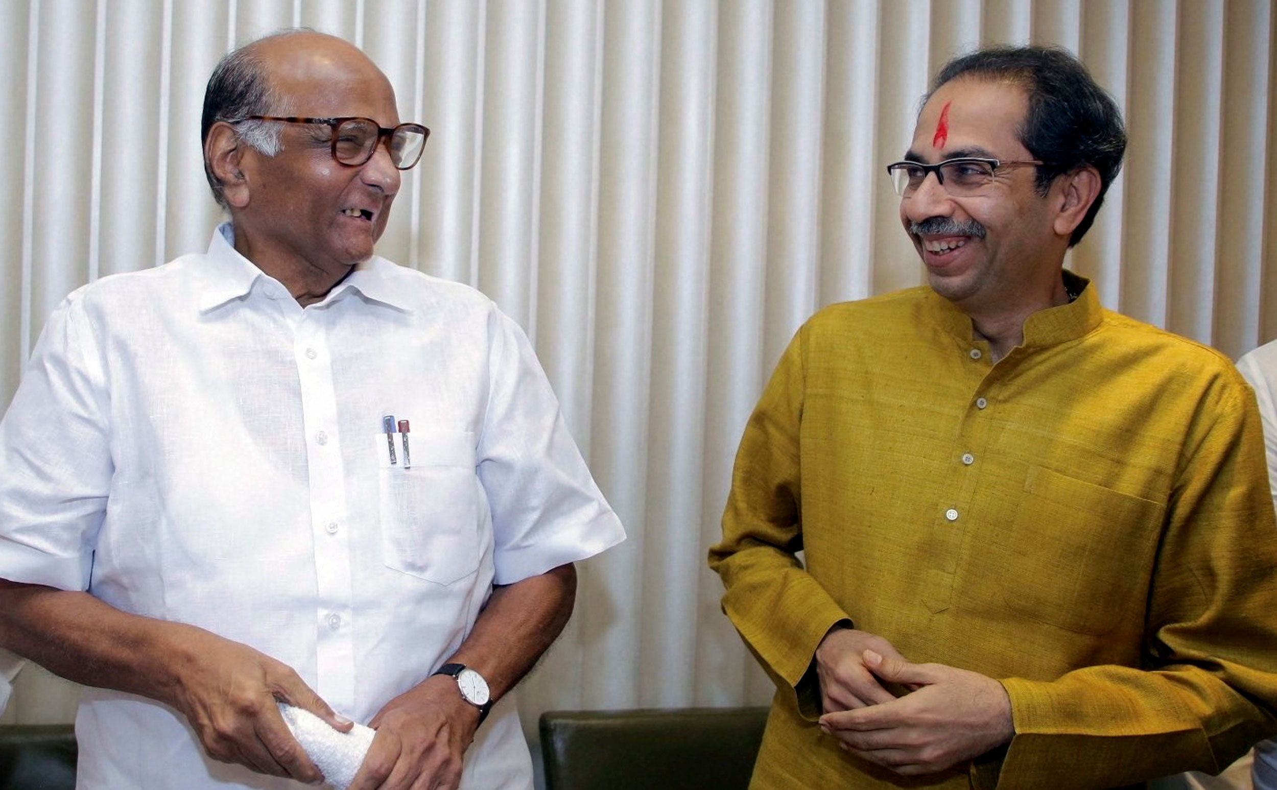 Uddhav Thackeray (right) with Sharad Pawar at a meeting in Mumbai on November 26, 2019. Ideological shifts have to be deftly managed and Uddhav Thackeray's leadership skills will be tested in the coming days.