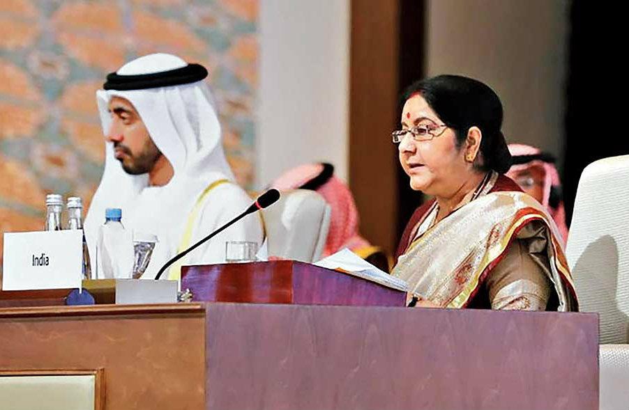 Sushma Swaraj at the OIC meeting in Abu Dhabi on Friday.