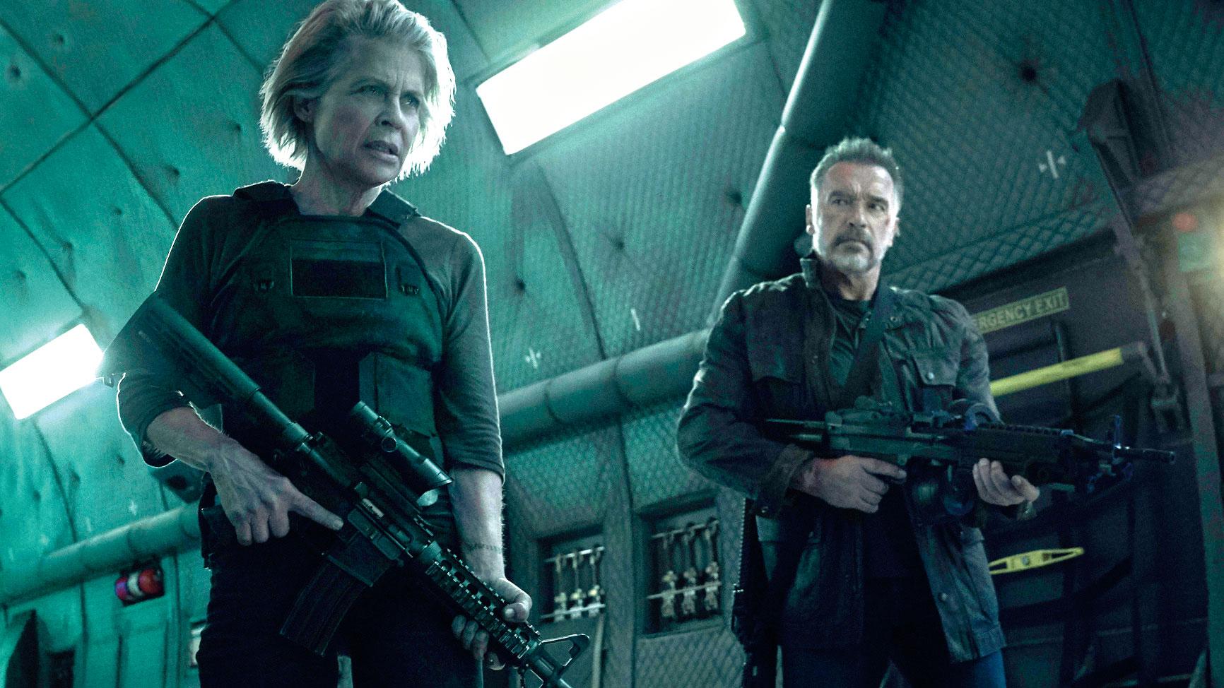 Linda Hamilton and Arnold Schwarzenegger in Terminator: Dark Fate.