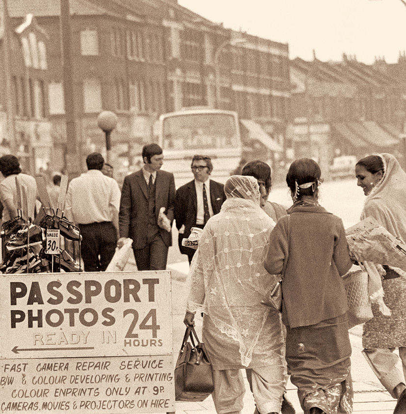 Indian immigrants shopping in Southall, west London, 17th October 1972