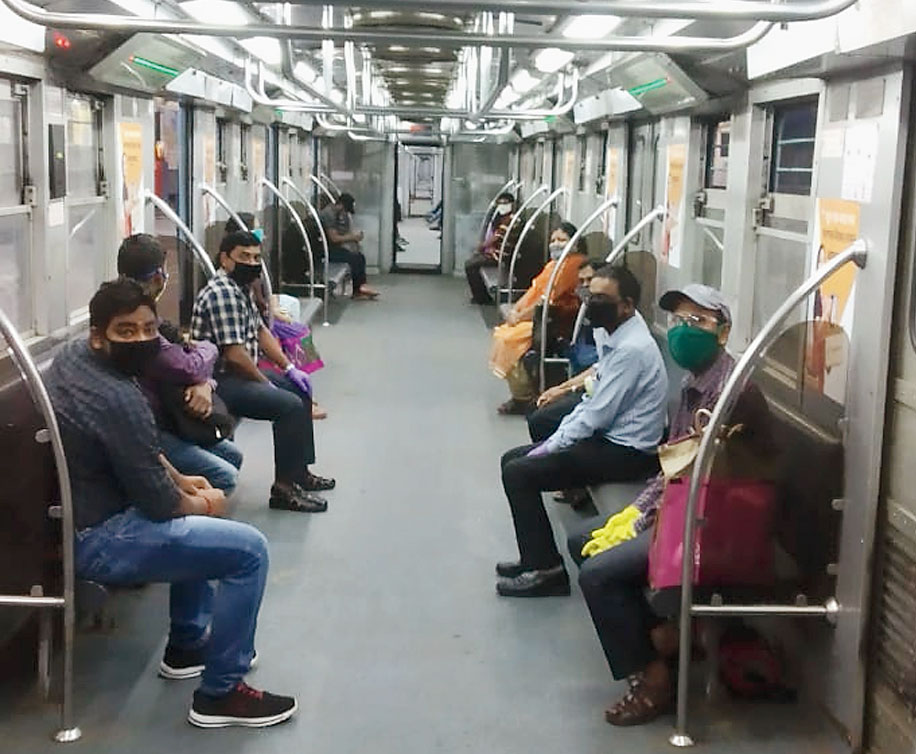 Metro staff during the trial run on Thursday.