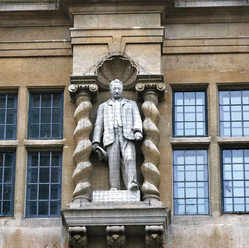 The statue of Cecil Rhodes outside Oriel College in Oxford.