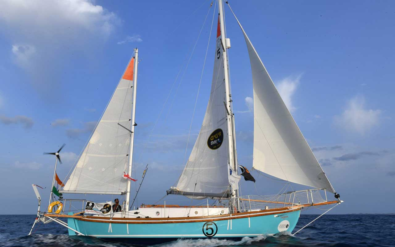 The Thuriya, Commander Tomy's yacht, earlier in the Golden Globe race.