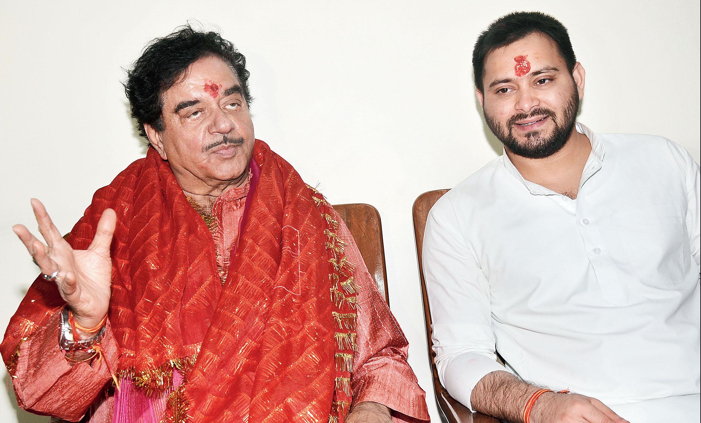 Shatrughan Sinha at home with Tejashwi Prasad Yadav in Patna on Wednesday night.