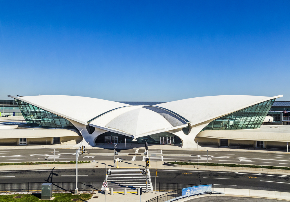 View of the historic TWA Flight Center at John F Kennedy International Airport in New York