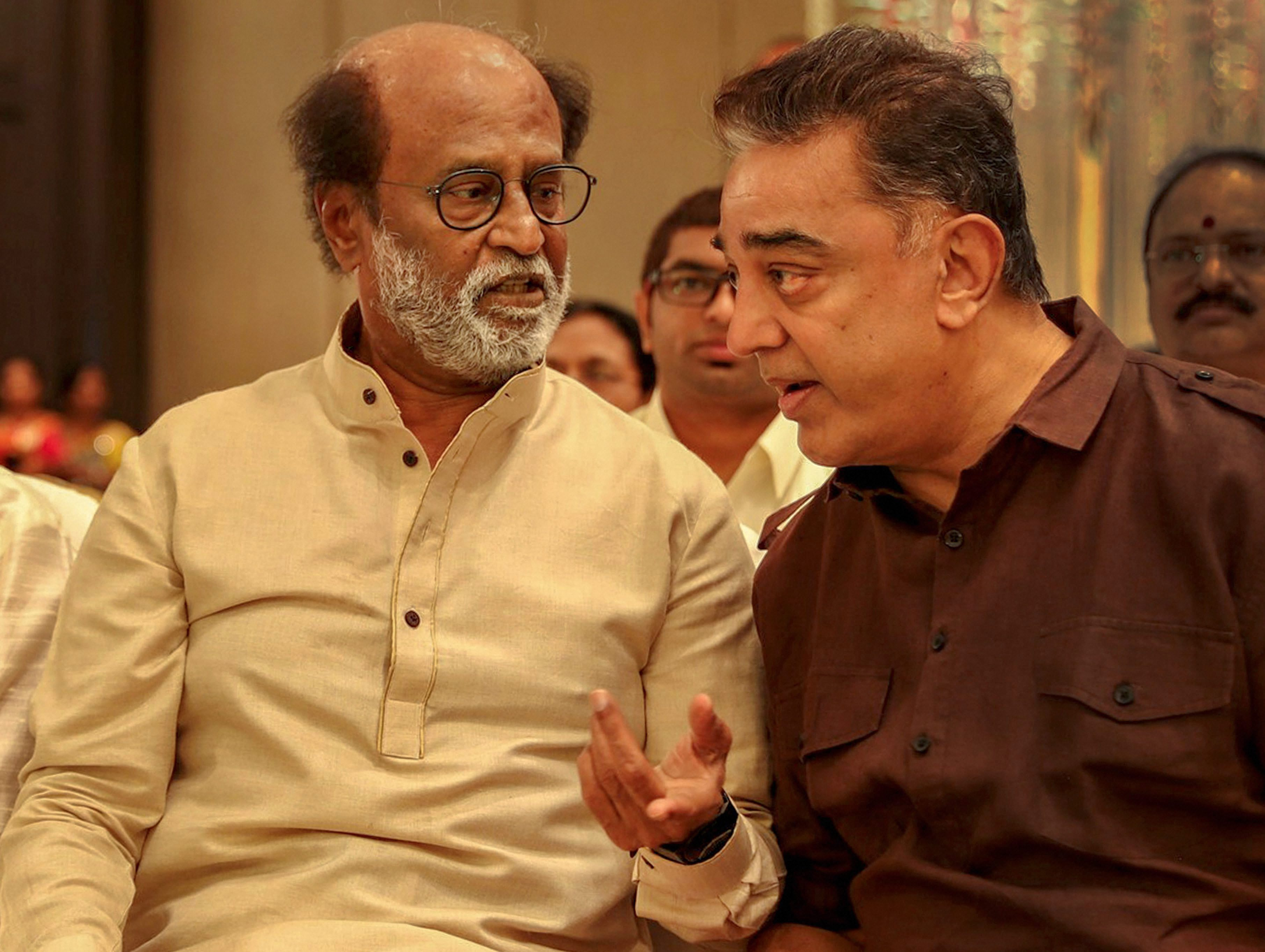 Kamal Haasan, the actor who heads Makkal Needhi Maiam, and Rajinikanth during the wedding of Rajini's younger daughter Soundarya  in Chennai on February 11.