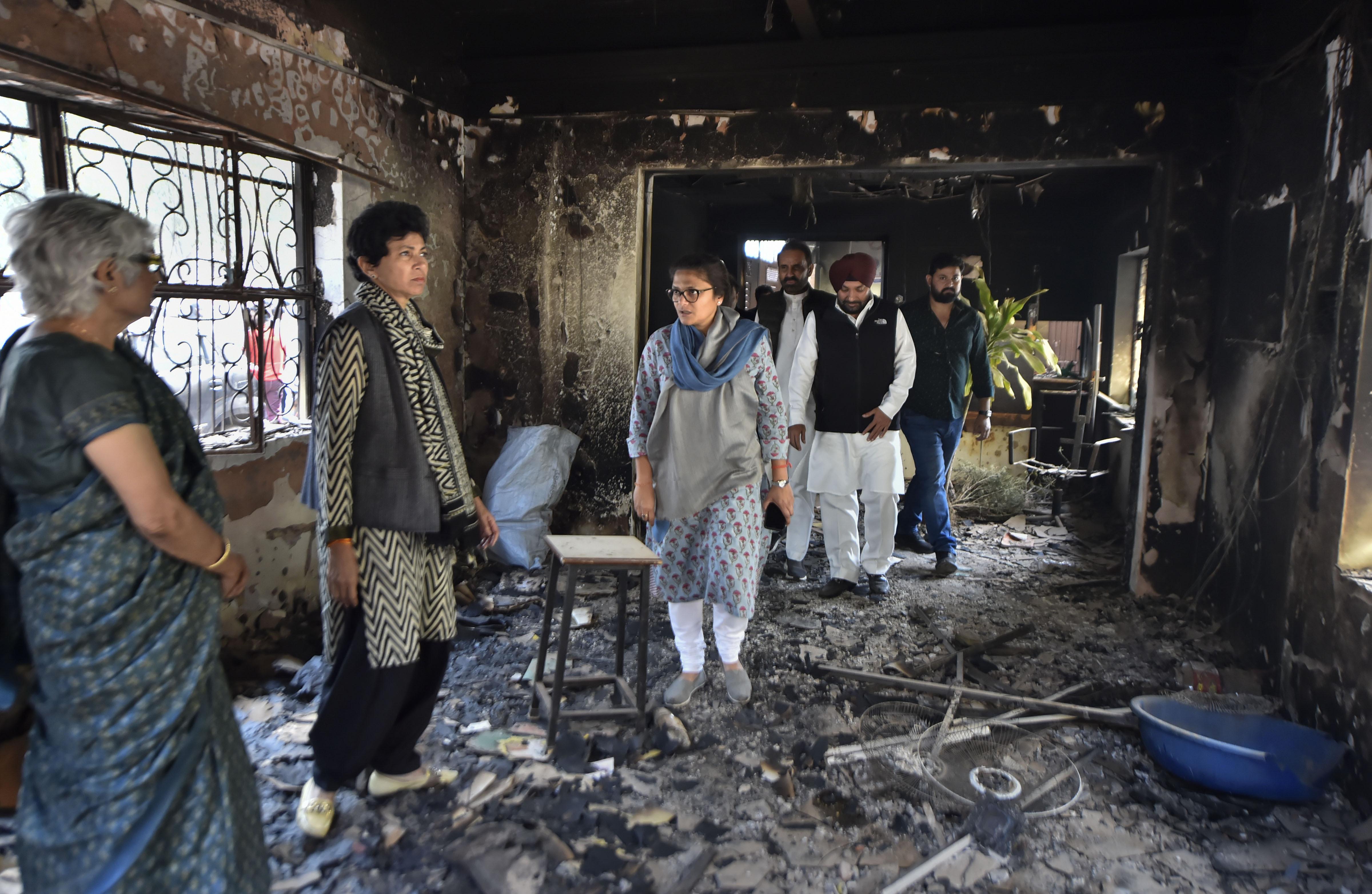 Congress delegation comprising Kumari Selja, Sushmita Dev, Shaktisinh Gohil and Amarinder Singh visit riot-affected area , at Old Mustafabad area in Northeast Delhi, Saturday, February 29, 2020.