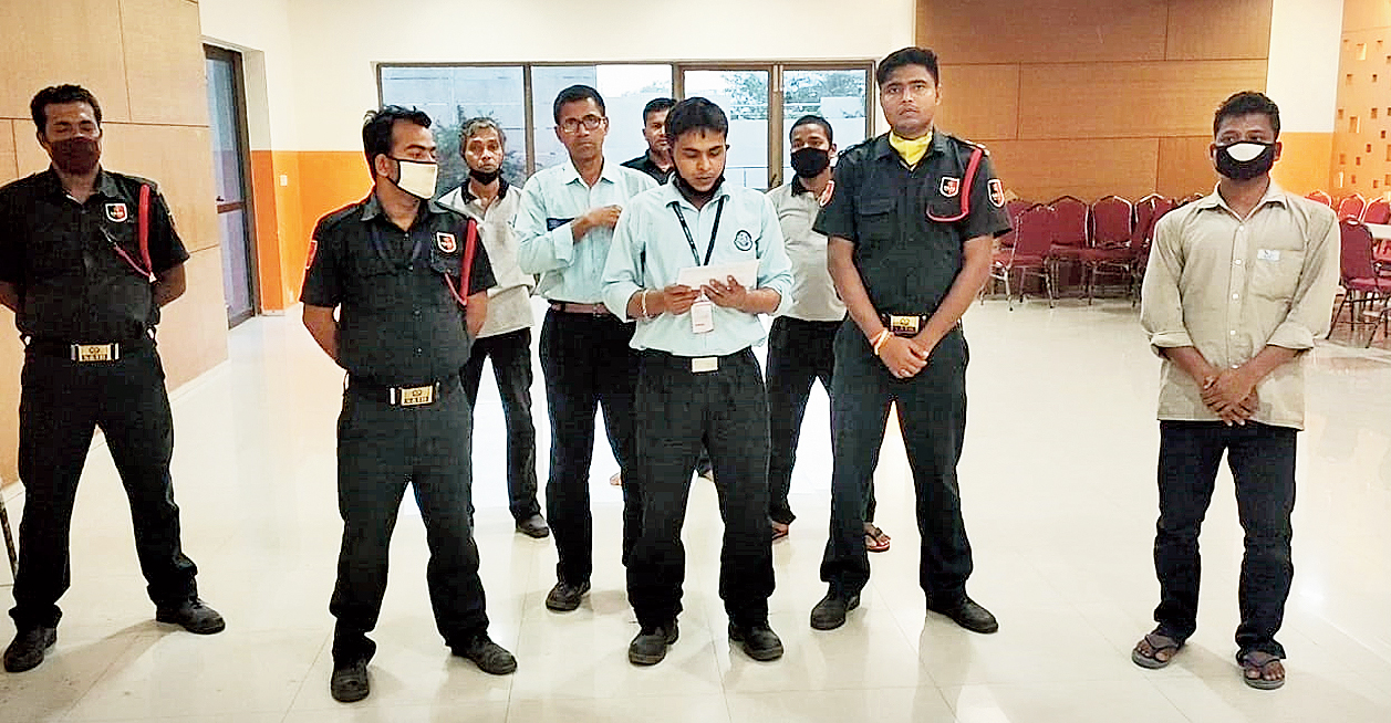 The security staff at Tata Eden Court performs