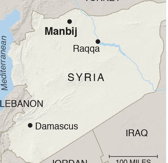 The attack targetted a US military convoy in the northern city of Manbij while troops were inside the Palace of the Princes, a restaurant where they often stopped to eat during patrols, residents said.