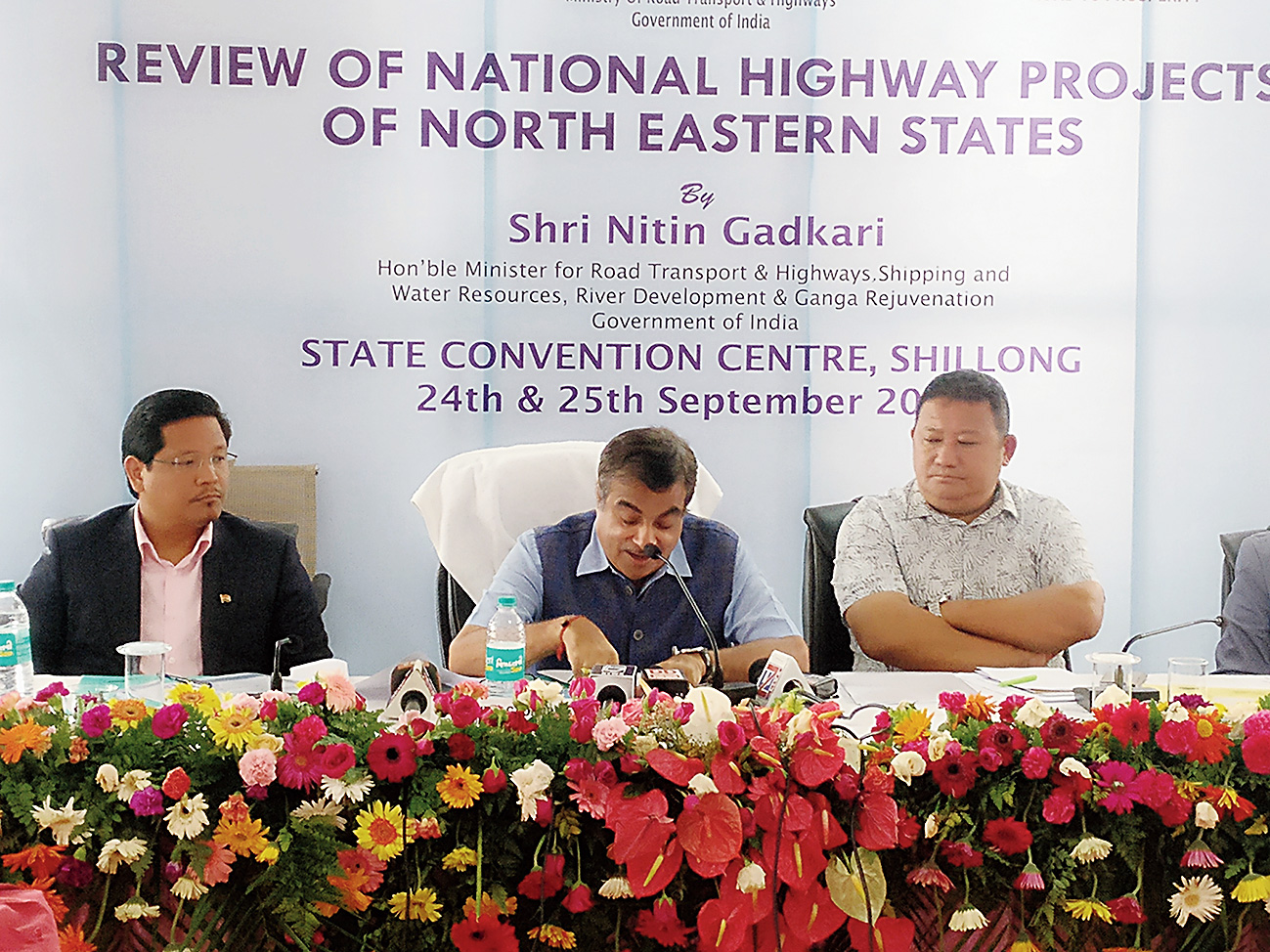 Union minister Nitin Gadkari (centre) in Shillong on Tuesday.
