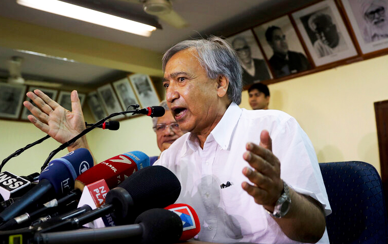 Mohammad Yousuf Tarigami addresses the media at the party headquarters in New Delhi on Tuesday