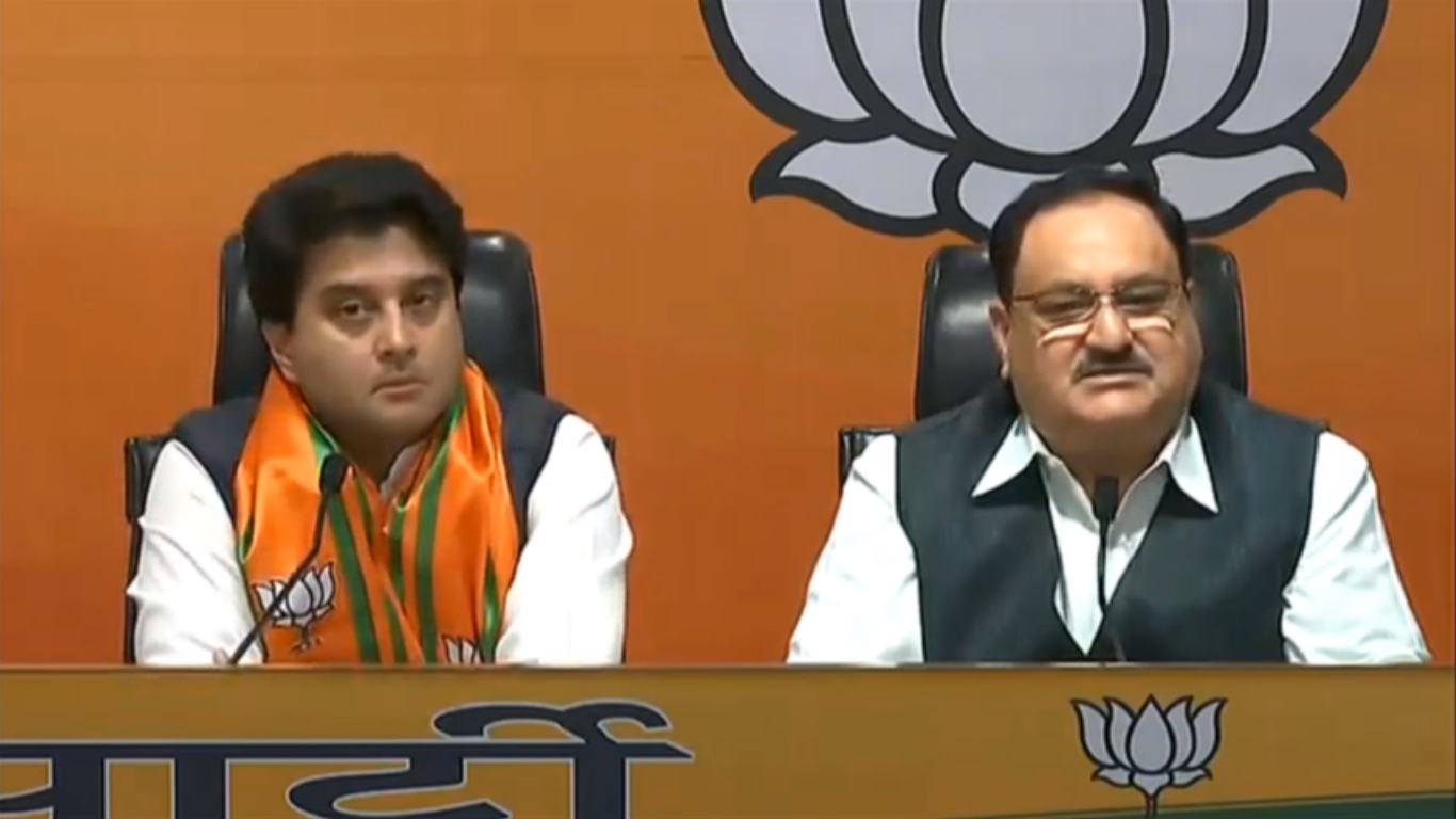 Former Congress leader Jyotiraditya Scindia joins the BJP in presence of party chief J.P. Nadda in New Delhi, on Wednesday, March 11, 2020.
