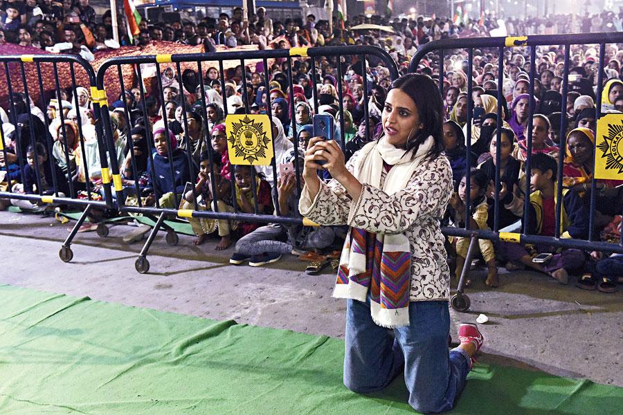 Actor Swara Bhasker at Rajabazar on Saturday evening.