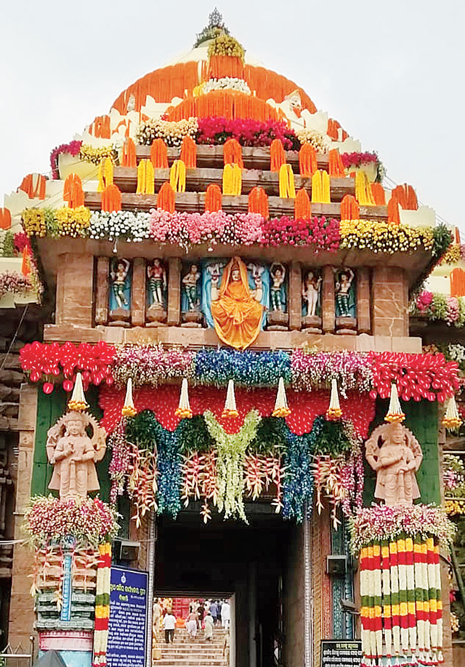 The floral decoration at the Jagannath temple gate