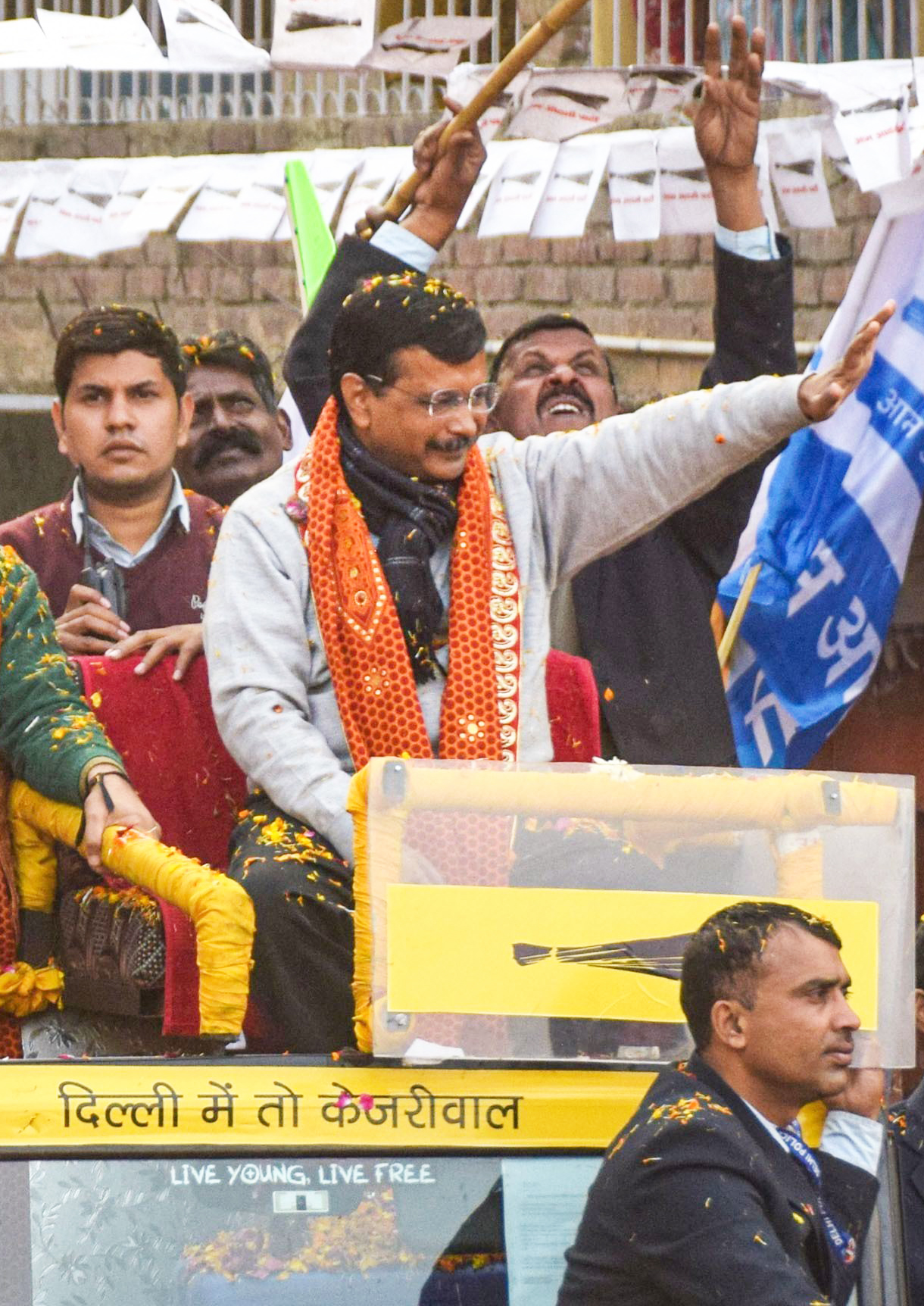 Delhi Chief Minister Arvind Kejriwal during an election campaign roadshow ahead of the State Assembly elections, at Patparganj in New Delhi, Monday, February 3, 2020.