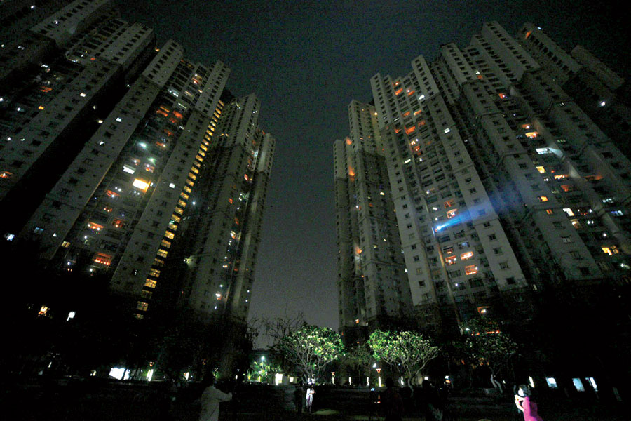 South City towers aglow with candles, diyas and flashlights at 9.06pm on Sunday.