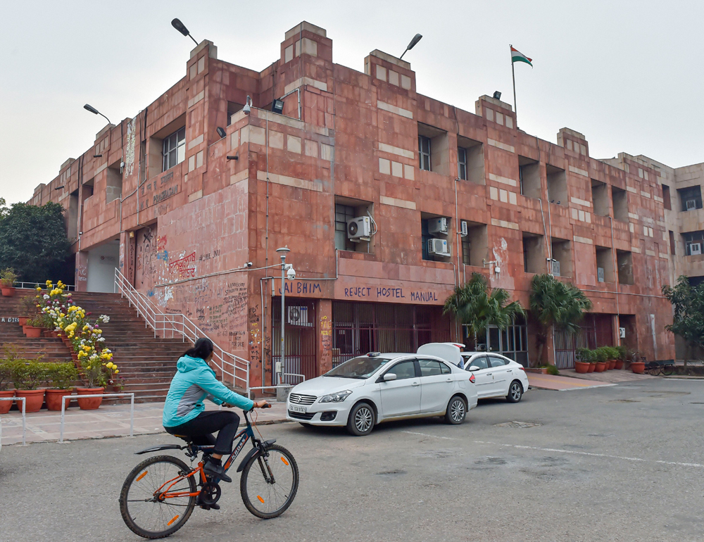 The admin block on the JNU campus in New Delhi on Monday