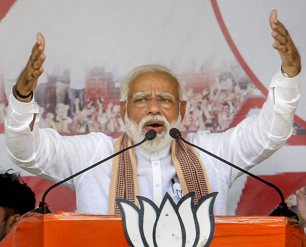 Prime Minister Narendra Modi addressing an election rally during the Lok Sabha elections. The NDA, which he leads, ended up with an overall vote share of around 45 per cent for 353 seats, thus failing to cross the coveted halfway mark as far vote share is concerned