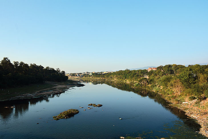 Not for long: Clear sky over the Kharkai river in Bistupur, Jamshedpur, on Friday.