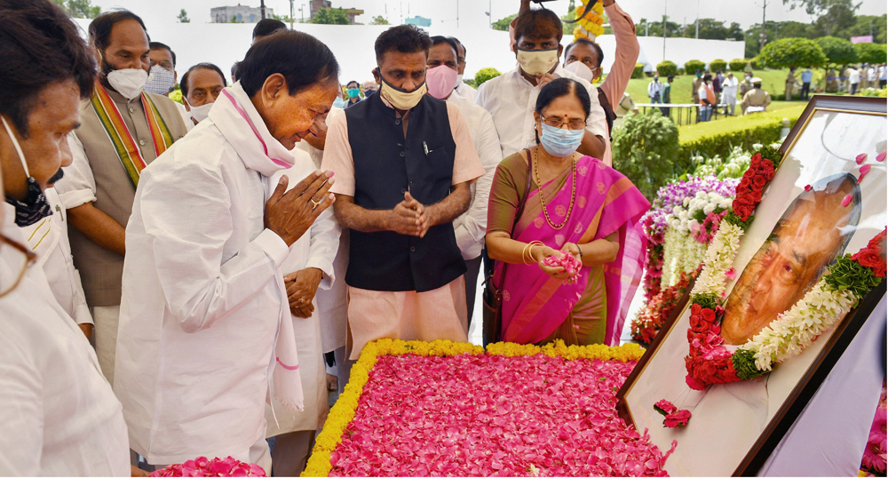 Telangana chief minister K Chandrasekhar Rao pays tribute to former Prime Minister PV Narasimha Rao on his birth anniversary in Hyderabad on Sunday.