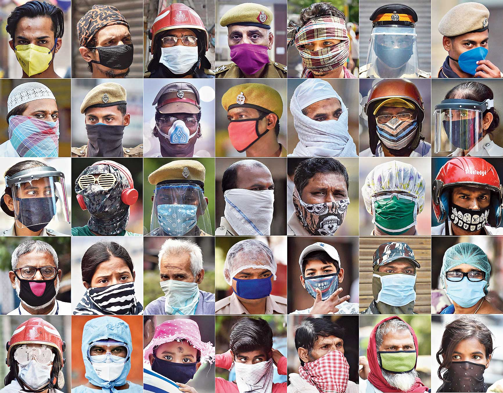 A combination of pictures shot across India over the past three days shows people using different ways to mask themselves during a nationwide lockdown in the wake of the coronavirus pandemic.
