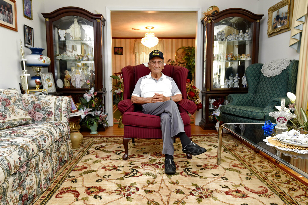 Dennis Trudeau, a World War II veteran who landed in Normandy on D-Day, poses for a photo at his home May 21 in Grovetown, Ga. Trudeau had joined the Canadian military at 17 and became a paratrooper in part because they paid an extra $50 a month.