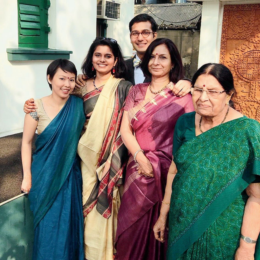 Poh with husband Mayank Misra and family