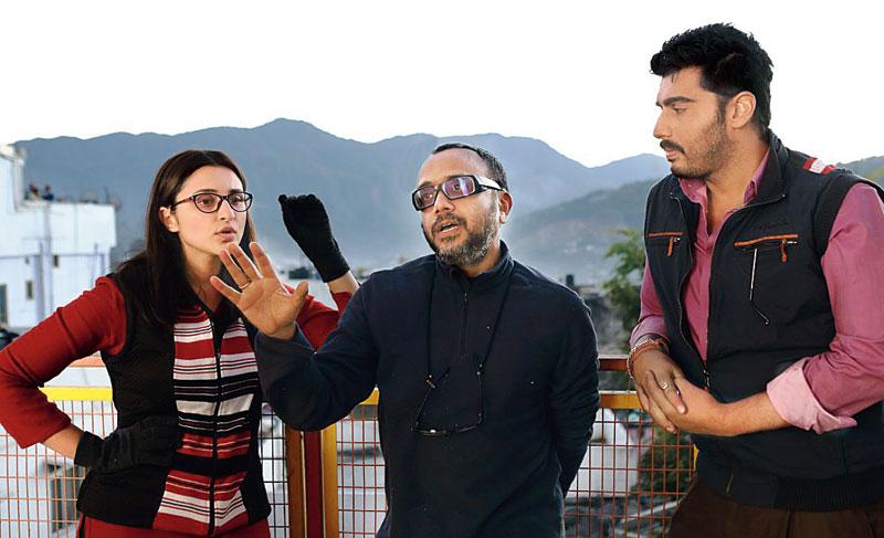 Dibakar Banerjee (centre) with Parineeti Chopra and Arjun Kapoor on the sets of Sandeep Aur Pinky Faraar, releasing on March 20