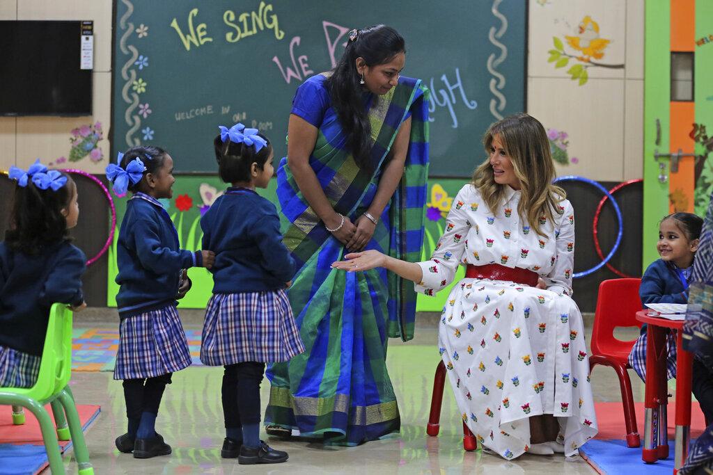 US First Lady Melania Trump meet pre-primary children in activity room at Sarvodaya Co-Educational Senior Secondary School in New Delhi