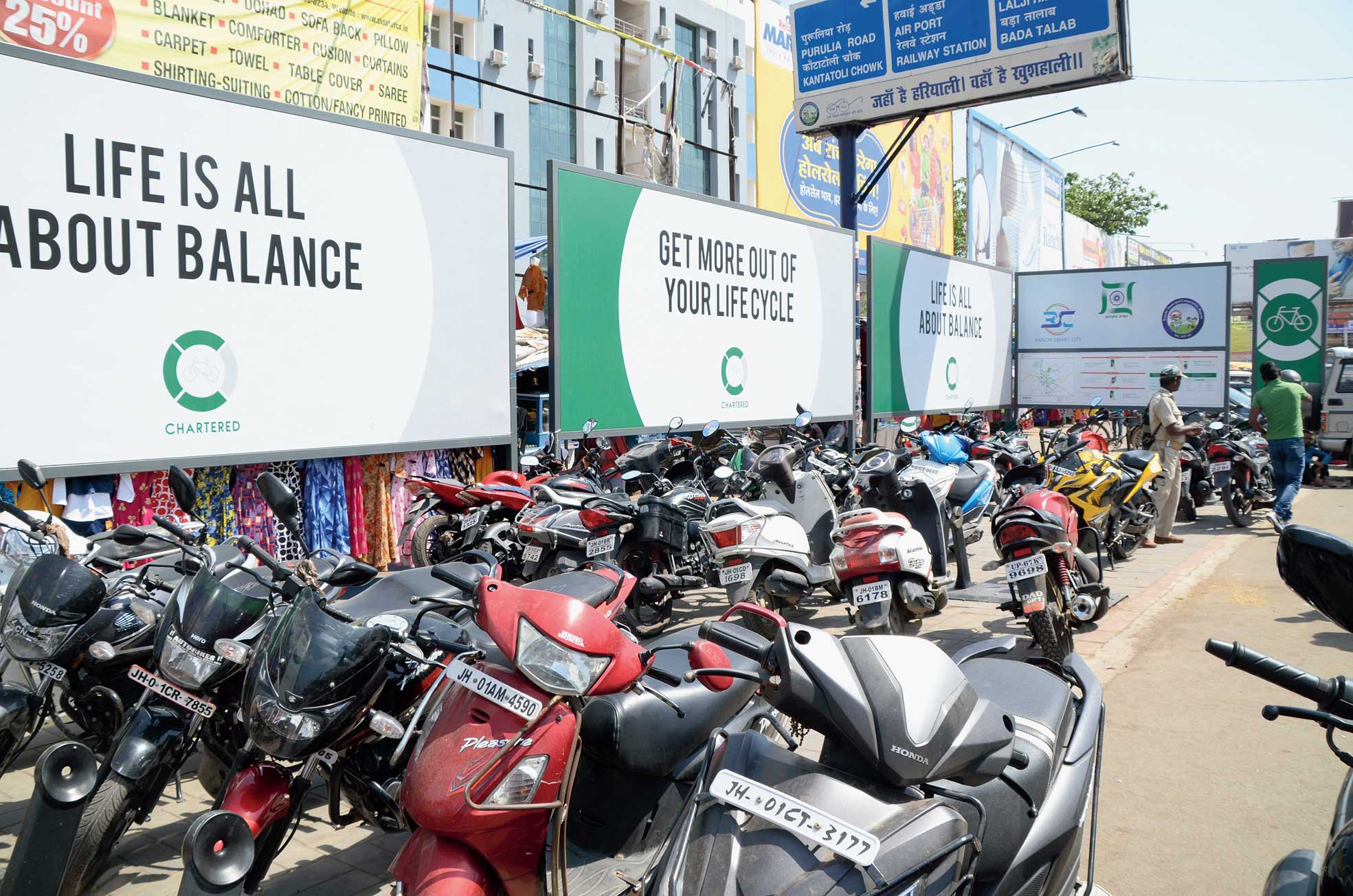 Two-wheelers parked at the smart cycle stand on Main Road in Ranchi on Sunday.