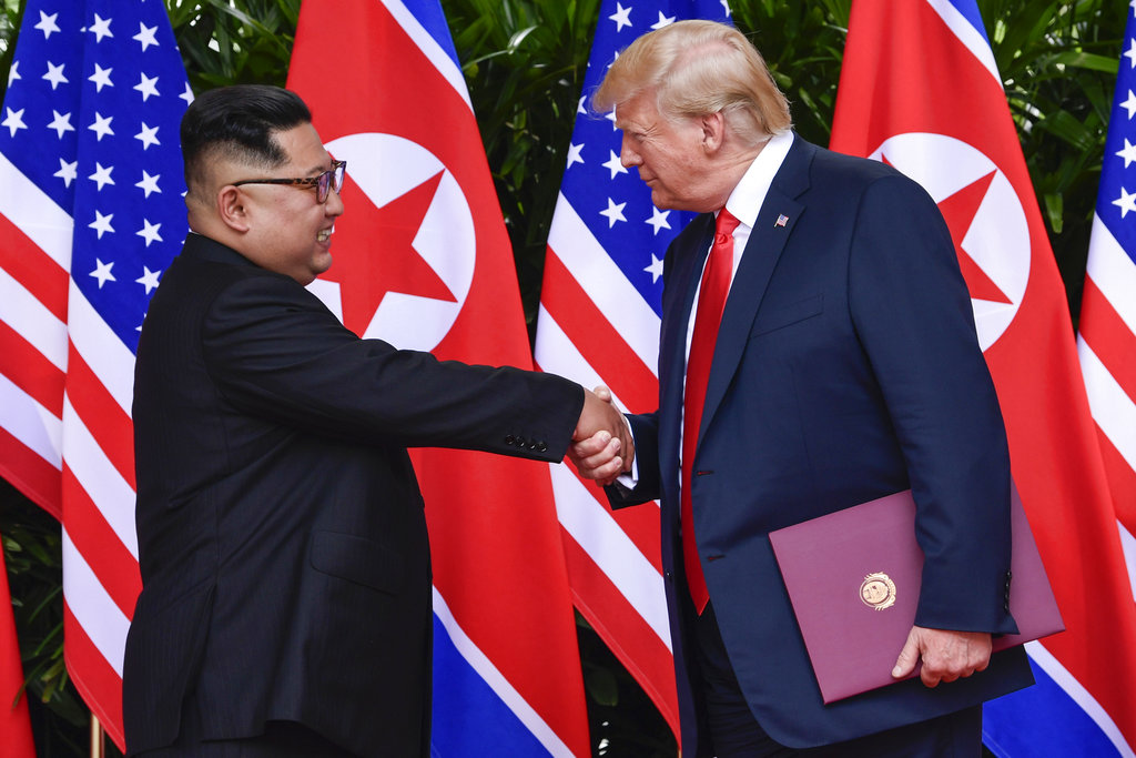 "Donald Trump had declared after his historic summit with Kim Jong-un in June that there was ""no longer a nuclear threat from North Korea""."
