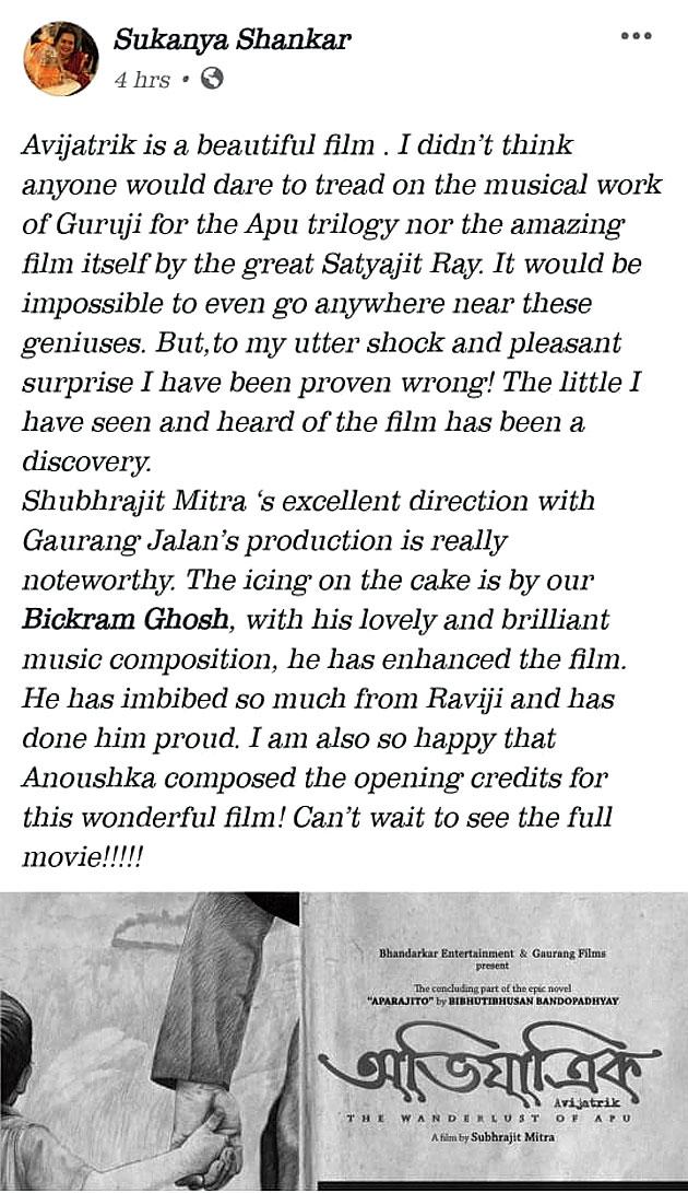A grab of the social media post by Anoushka's mother Sukanya Shankar