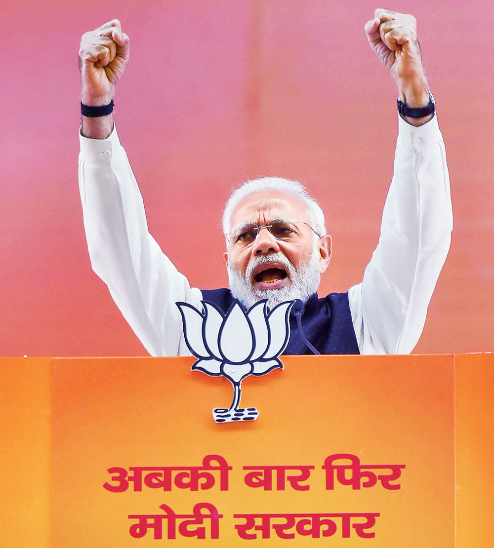 Prime Minister Narendra Modi at the two-day BJP National Convention, at Ramlila Ground in New Delhi on Saturday, January 12. Critics of his government have called the 10 per cent quota bill an electoral stunt