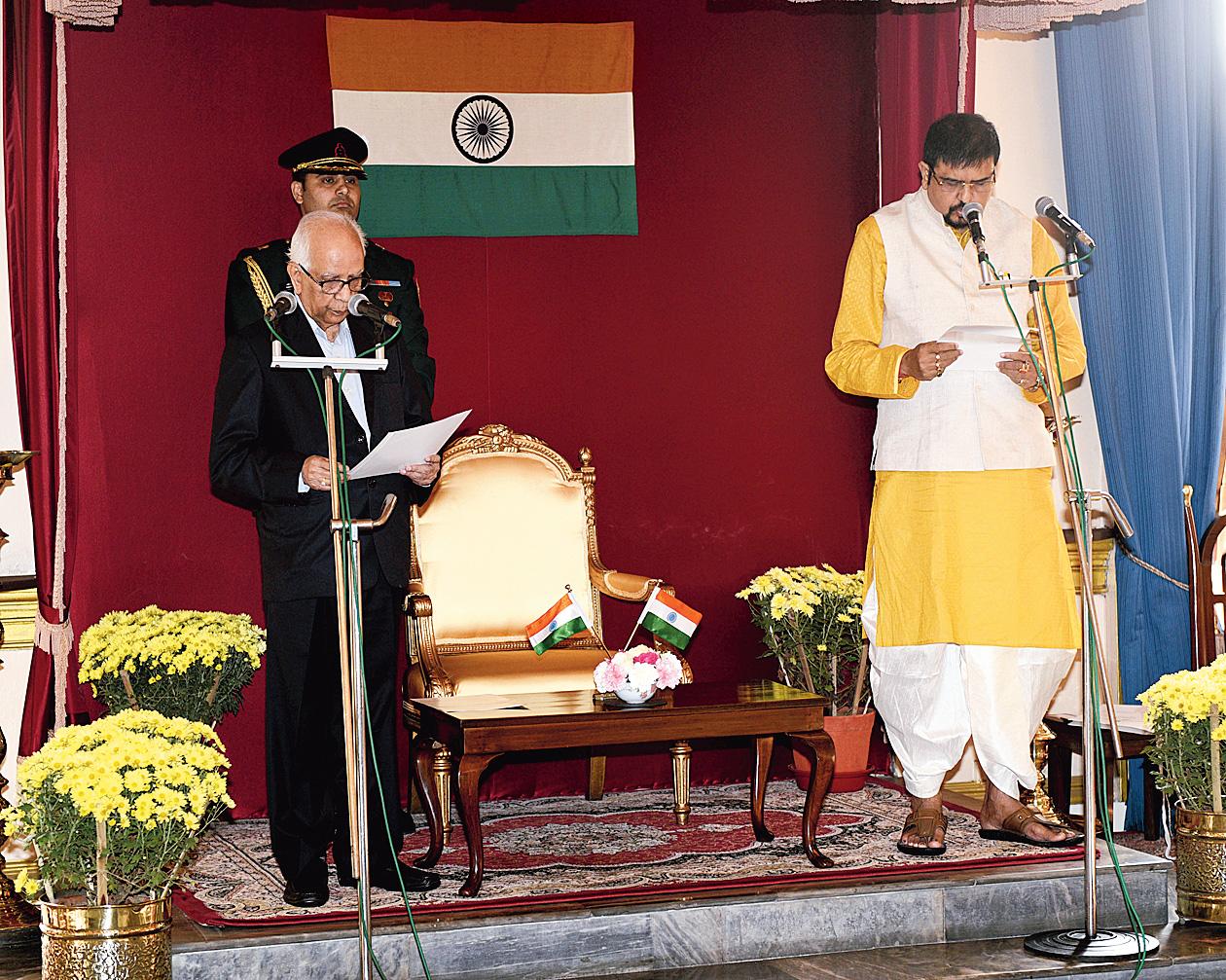 Bidhannagar MLA Sujit Bose was sworn in by Governor K.N. Tripathi at Raj Bhawan on December 20.